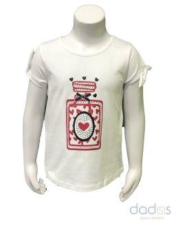 Sarabanda camiseta niña blanca frasco con tachuelas