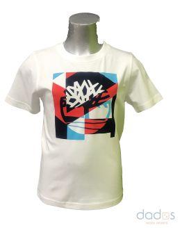 Timberland camiseta chico blanca logo multicolor