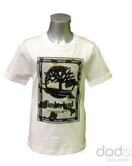 Timberland camiseta chico blanca logo camuflaje
