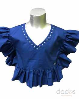 Monnalisa blusa volantes azulona