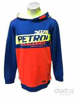 Petrol sudadera chico combinada rojo y azulón letras fluor