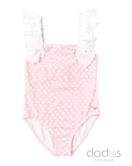 José Varón bañador niña topos rosa