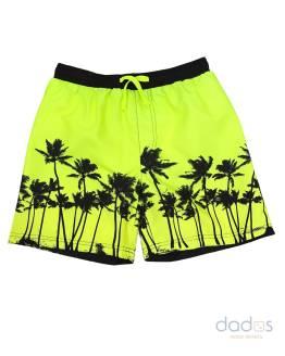 Ido bañador chico amarillo fluor estampado palmeras