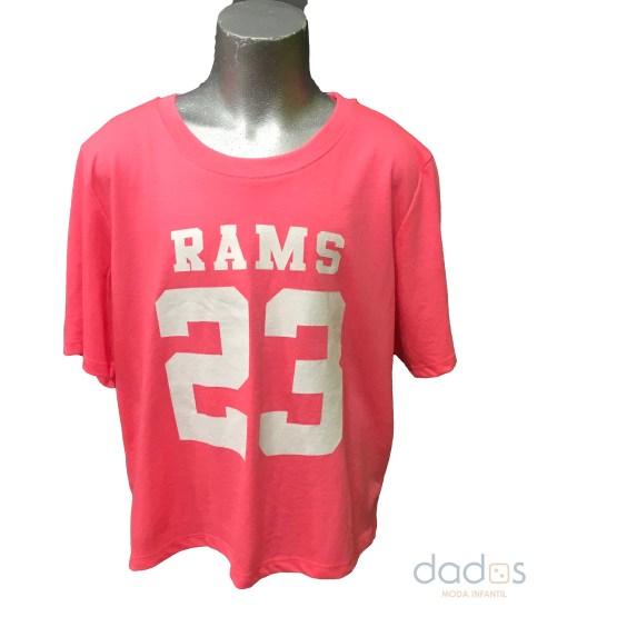 Rams 23 camiseta chica Classic logo rosa fluor