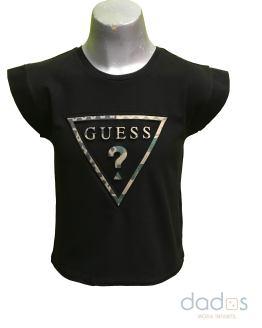 Guess camiseta chica negra triángulo camuflaje