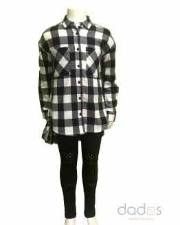 Ido conjunto legging tachuelas blusa cuadros negros