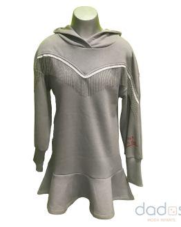 Monnalisa vestido tecnofelpa gris flecos con capucha