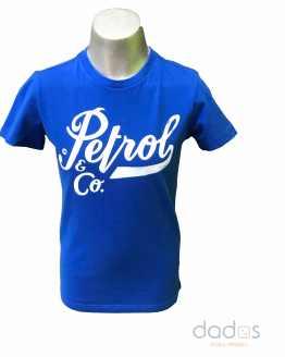 Petrol camiseta chico azulona logo letras blanco