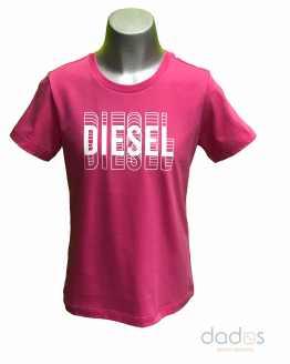 Diesel camiseta chico fucsia logo letra 3D