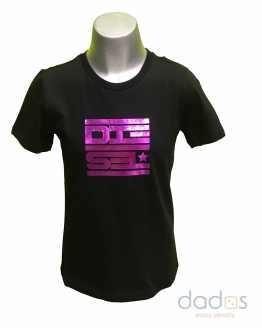 Diesel camiseta negra logo efecto metálico
