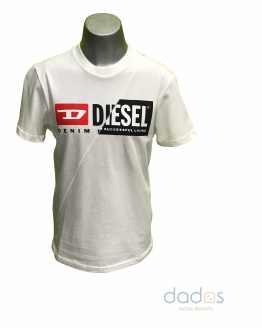 Diesel camiseta blanca logo engomado bicolor