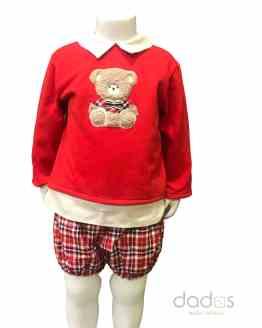 Coco Acqua conjunto niño braga cuadros y sudadera roja oso