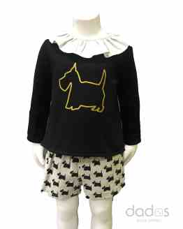 Coco Acqua conjunto niña short perros y sudadera negra lazos espalda