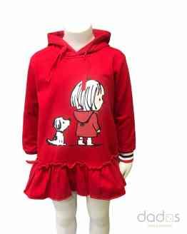 Mon Petit Bonbon Vestido felpa rojo perro y niña