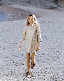 catálogo Bella Bimba vestido camisero polipiel oro LUAR