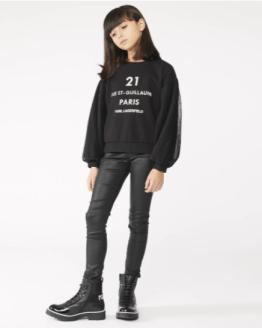 Karl Lagerfeld sudadera chica negra mangas plisadas