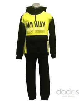 Pi-X conjunto chico jogging negro letras sudadera combinada amarilla