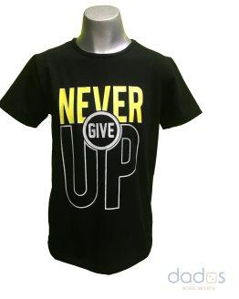Pi-X camiseta chico negra letras Never