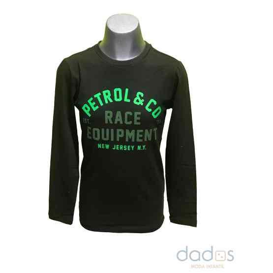 Petrol camiseta chico verde kaki letras fluor