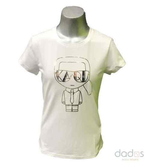 Karl Lagerfeld camiseta chica blanca dibujo dorado relieve