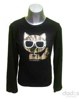 Karl Lagerfeld camiseta chica negra gato dorado con gafas