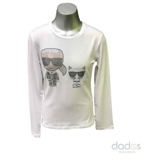 Karl Lagerfeld camiseta blanca Karl y gato en strass