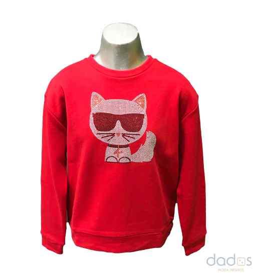 Karl Lagerfeld sudadera chica roja gato en strass
