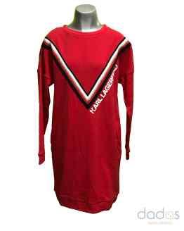 Karl Lagerfeld vestido rojo en felpa rayas en V