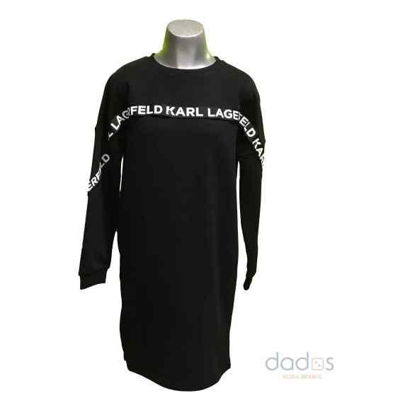 Karl Lagerfeld vestido felpa negro letras
