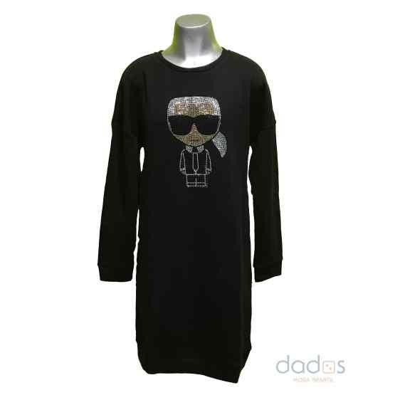 Karl Lagerfeld vestido negro en felpa dibujo en strass