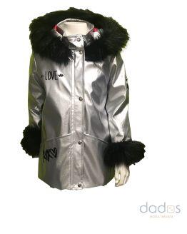 Coquelín Abrigo estrellas plata y negro pelo capucha y puños
