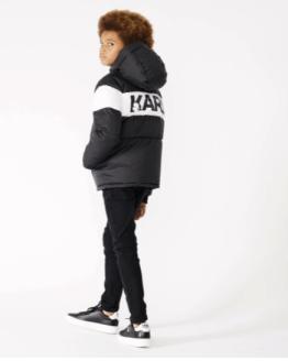 Karl Lagerfeld chaquetón chico negro combinado logo espalda