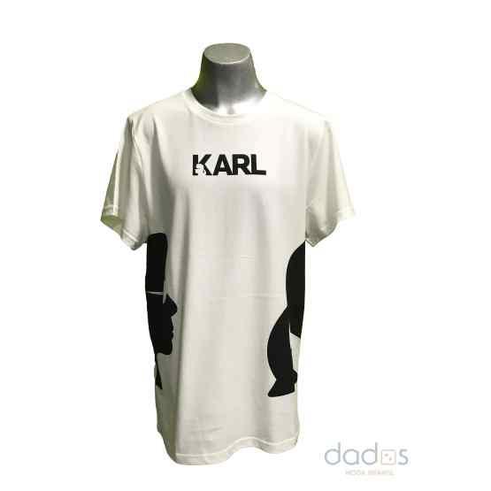 Karl Lagerfeld camiseta chico blanca caras laterales