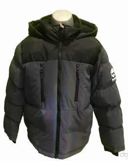 Timberland chaquetón chico combinado gris y negro letras espalda
