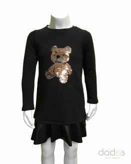 Sarabanda vestido niña negro oso lentejuelas volante ecopiel