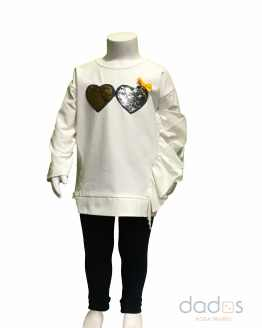 IDO conjunto niña legging sudadera corazones lentejuelas