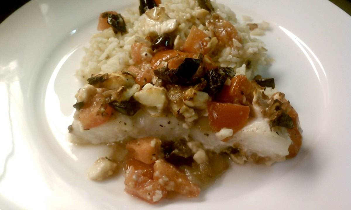 Mediterranean Tilapia topped with Feta, Olives, Onion, and Tomatoes