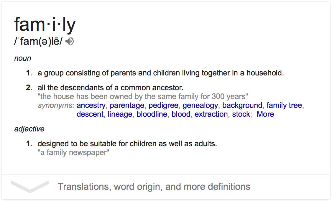 Google's Definition of Family