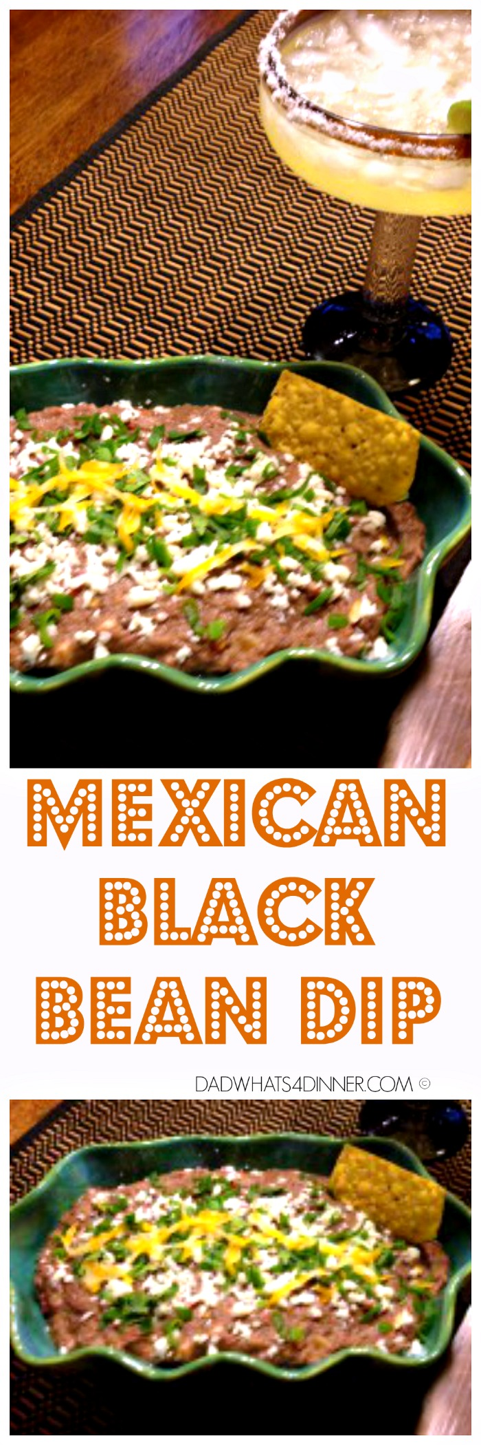 This Mexican Black Bean Dip is my all time favorite goto party appetizer. Quick and simple dish that everyone will love, A Fiesta for you mouth! #cincodemayo #dip #recipe www.dadwhats4dinner.com