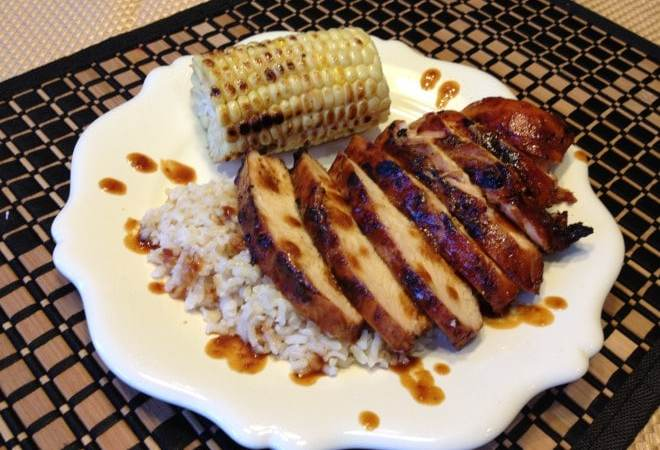 Grilled Chicken Breast Glazed with a Habanero Pepper Jelly BBQ Sauce