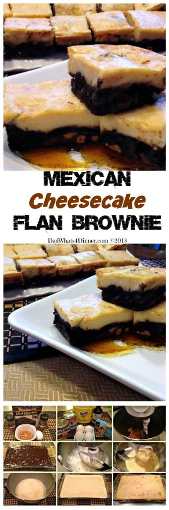 For Cinco de Mayo my Mexican Cheesecake Flan Brownie is the perfect marriage of two wonderful desserts. Luscious chocolate brownie topped with creamy flan!