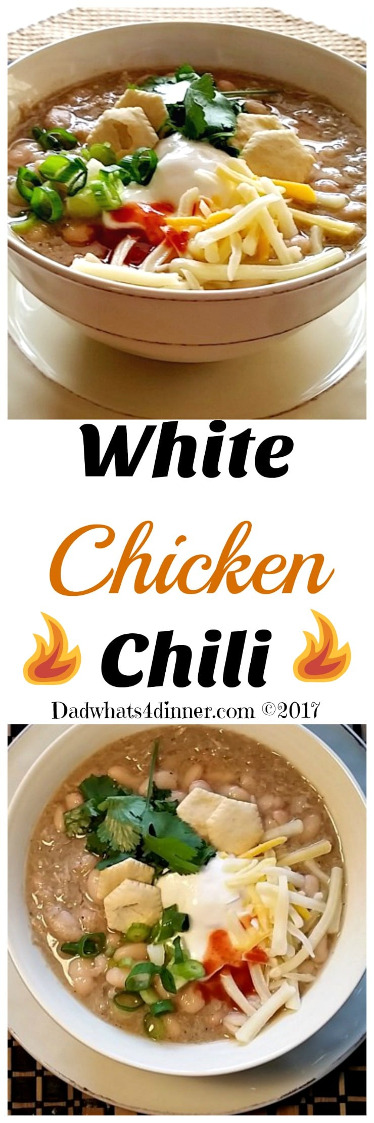 Nothing better on a cold day than a warm bowl of White Chicken Chili made with chicken, white beans, cumin, mild chilies and other spices.