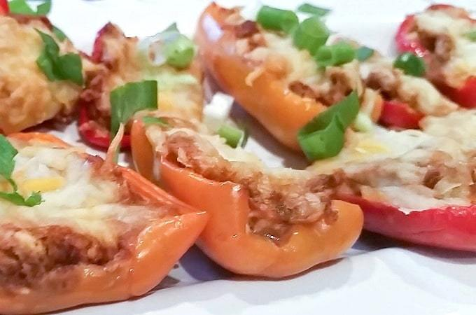 Chorizo Stuffed Mini Sweet Peppers + Nachos