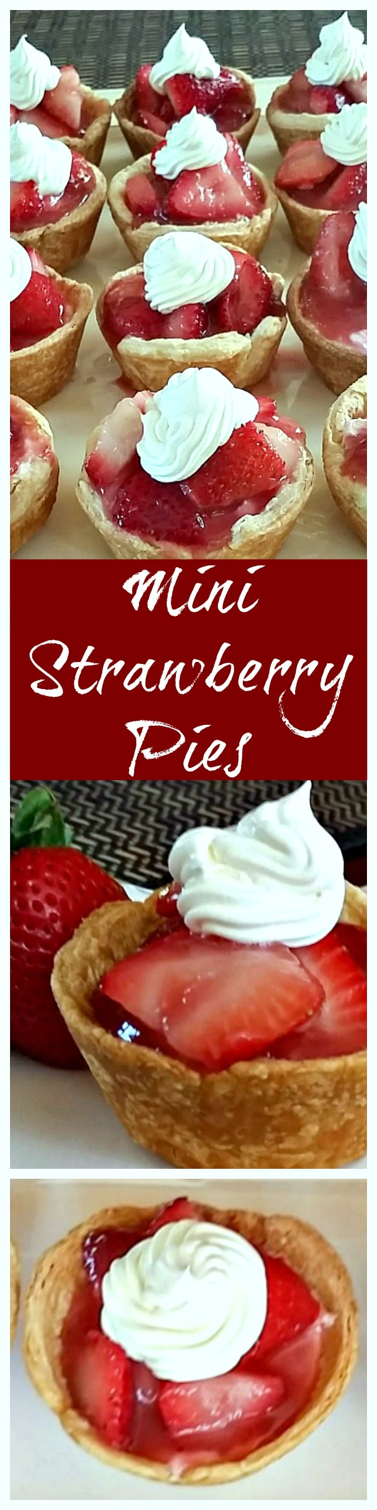 These Mini Strawberry Pies are a must make for Memorial Day or Father's Day cookout. All the goodness of a strawberry pie, but in individual serving.