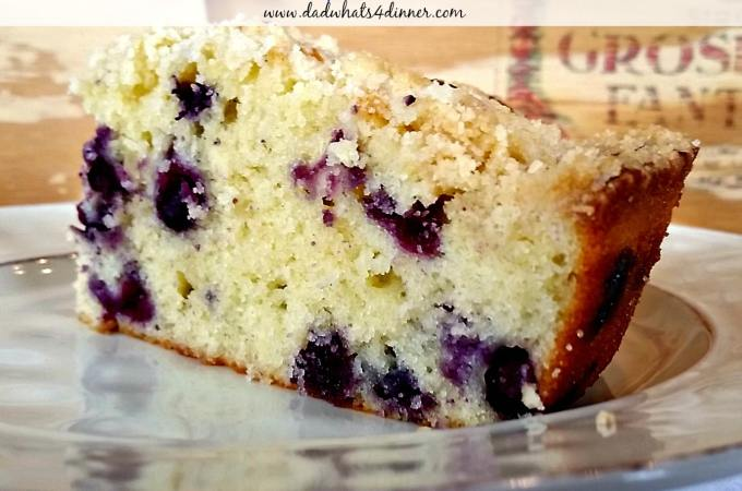 Blueberry Sour Cream Skillet Bread with Streusel Topping