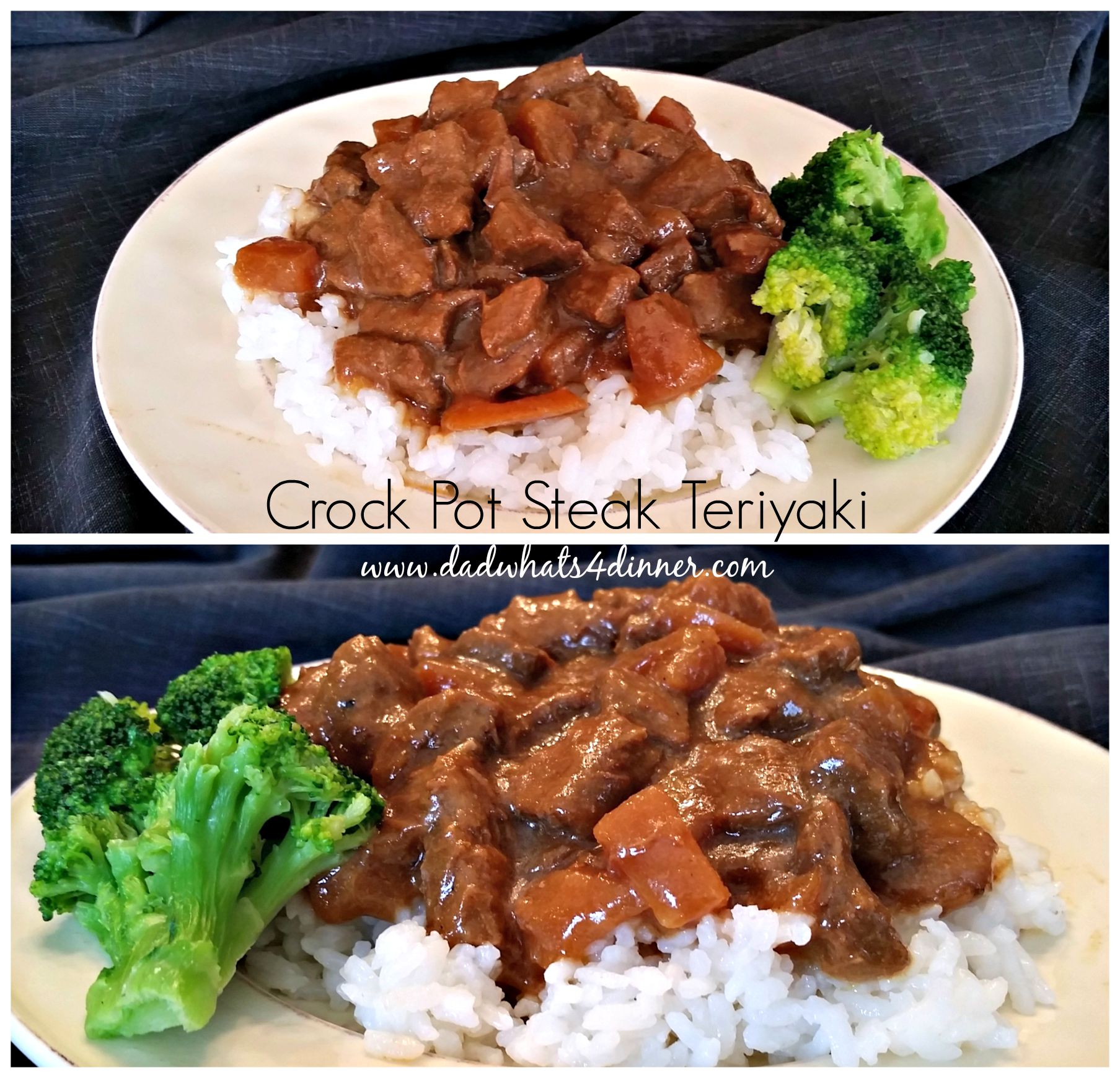 Here is a super simple recipe for Crock Pot Steak Teriyaki. This recipe uses only 4 ingredients. Beef, Teriyaki sauce, pineapple tidbits and sliced water chestnuts.