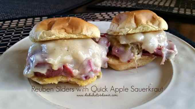 Make these Reuben Sliders with Quick Apple Sauerkraut to celebrate Oktoberfest or for a great tailgating smack for the big game.