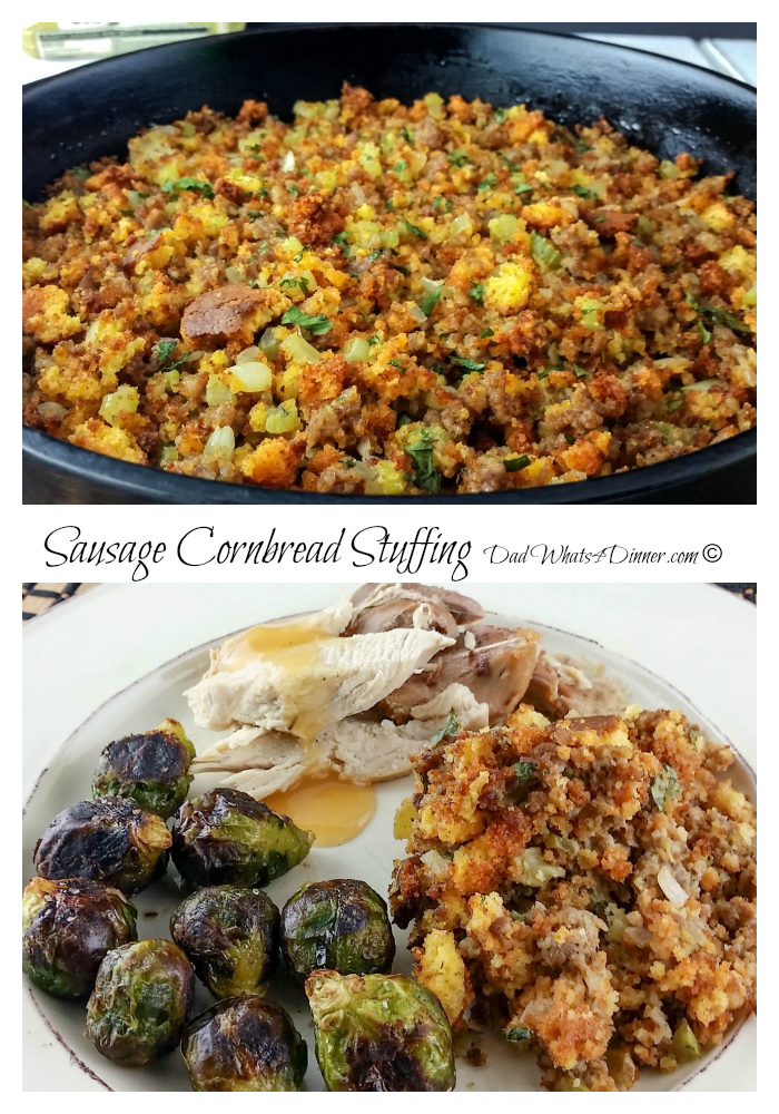 My Sausage Cornbread Stuffing brings a traditional southern twist to your Thanksgiving Day meal. All the flavors of the season!   www.dadwhats4dinner.com
