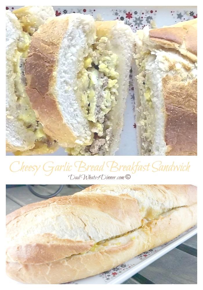 Cheesy Garlic Bread Breakfast Sandwich | https://dadwhats4dinner.com/