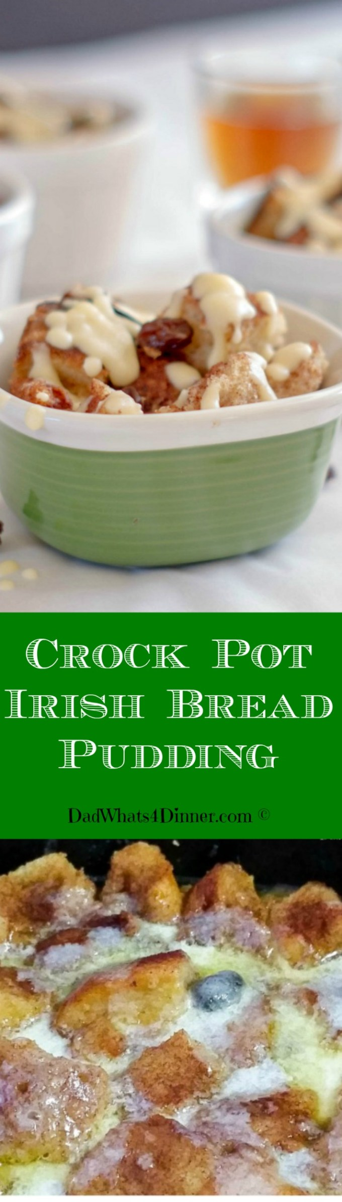Are you ready to get your green on with my Irish Bread Pudding. But wait, it gets even better because it is made in your crock pot.